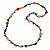 Long Multicoloured Wood, Bone Beaded Black Cord Necklace - 106cm L - view 3