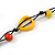 Long Multicoloured Wood, Bone Beaded Black Cord Necklace - 106cm L - view 5