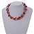 Exquisite Faux Pearl & Shell Composite Silver Tone Link Necklace In Peach Red/ White - 40cm L/ 5cm Ext - view 2