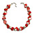 Exquisite Faux Pearl & Shell Composite Silver Tone Link Necklace In Peach Red/ White - 40cm L/ 5cm Ext - view 3