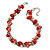 Exquisite Faux Pearl & Shell Composite Silver Tone Link Necklace In Peach Red/ White - 40cm L/ 5cm Ext