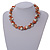 Exquisite Faux Pearl & Shell Composite Silver Tone Link Necklace In Peach Orange/ White - 40cm L/ 5cm Ext - view 2