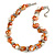 Exquisite Faux Pearl & Shell Composite Silver Tone Link Necklace In Peach Orange/ White - 40cm L/ 5cm Ext - view 3