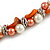 Exquisite Faux Pearl & Shell Composite Silver Tone Link Necklace In Peach Orange/ White - 40cm L/ 5cm Ext - view 4