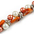 Exquisite Faux Pearl & Shell Composite Silver Tone Link Necklace In Peach Orange/ White - 40cm L/ 5cm Ext - view 5