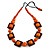 Chunky Square and Round Wood Bead Cotton Cord Necklace (Orange/ Brown) - 74cm L