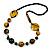 Stylish Animal Print Wooden Bead Necklace (Yellow/ Black) - 80cm Long