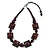 Chunky Square and Round Wood Bead Cotton Cord Necklace (Deep Purple/ Brown) - 74cm L