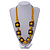Chunky Square and Round Wood Bead Cotton Cord Necklace (Yellow/ Brown) - 74cm L - view 2