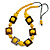 Chunky Square and Round Wood Bead Cotton Cord Necklace (Yellow/ Brown) - 74cm L - view 3