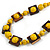 Chunky Square and Round Wood Bead Cotton Cord Necklace (Yellow/ Brown) - 74cm L - view 4