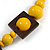 Chunky Square and Round Wood Bead Cotton Cord Necklace (Yellow/ Brown) - 74cm L - view 5
