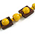 Chunky Square and Round Wood Bead Cotton Cord Necklace (Yellow/ Brown) - 74cm L - view 6