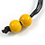 Chunky Square and Round Wood Bead Cotton Cord Necklace (Yellow/ Brown) - 74cm L - view 7