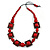 Chunky Square and Round Wood Bead Cotton Cord Necklace (Red/ Brown) - 74cm L
