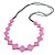 Long Lavender Pink Bone Square Bead Black Cotton Cord Necklace - 82cm L