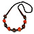 Chunky Orange/ Brown/ Black Wooden Bead Necklace - 80cm Long