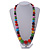 Multicoloured Graduated Wooden Bead Necklace - 70cm Long - view 2