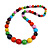Multicoloured Graduated Wooden Bead Necklace - 70cm Long