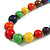 Multicoloured Graduated Wooden Bead Necklace - 70cm Long - view 4