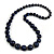 Dark Blue Graduated Wooden Bead Necklace - 70cm Long