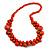 Orange Cluster Wood Bead Necklace - 60cm Long
