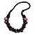 Deep Purple Cluster Wood Bead Necklace - 60cm Long