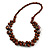 Brown Cluster Wood Bead Necklace - 60cm Long
