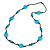 Long Light Blue/ Turquoise Wood and Resin Bead Black Cord Necklace - 100cm Long - view 3