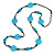 Long Light Blue/ Turquoise Wood and Resin Bead Black Cord Necklace - 100cm Long - view 4