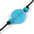 Long Light Blue/ Turquoise Wood and Resin Bead Black Cord Necklace - 100cm Long - view 6
