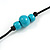 Long Light Blue/ Turquoise Wood and Resin Bead Black Cord Necklace - 100cm Long - view 7