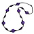Deep Purple Wood and Resin Bead Black Cord Necklace - 100cm Long