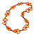 Carrot Orange Bone, Wood Beaded Black Cotton Cord Long Necklace - 88cm L