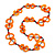 Carrot Orange Bone, Wood Beaded Black Cotton Cord Long Necklace - 88cm L - view 3