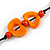 Carrot Orange Bone, Wood Beaded Black Cotton Cord Long Necklace - 88cm L - view 5