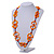 Carrot Orange Bone, Wood Beaded Black Cotton Cord Long Necklace - 88cm L - view 2