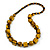 Long Mustard Yellow/ Black Cube and Ball Wood Bead Necklace - 76cm Long