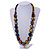 Multicoloured Cube and Ball Wood Bead Necklace - 76cm Long - view 2