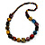 Multicoloured Cube and Ball Wood Bead Necklace - 76cm Long