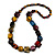 Multicoloured Cube and Ball Wood Bead Necklace - 76cm Long - view 3