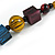 Multicoloured Cube and Ball Wood Bead Necklace - 76cm Long - view 5