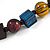 Multicoloured Cube and Ball Wood Bead Necklace - 76cm Long - view 6