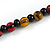 Multicoloured Cube and Ball Wood Bead Necklace - 76cm Long - view 7