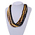 Multi-Strand Black/ Yellow/ Natural/ Brown Wood Bead Adjustable Cord Necklace - 66cm L - view 2