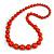 Orange Graduated Wooden Bead Necklace - 70cm Long