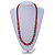 Red Glass Bead with Silver Tone Metal Wire Element Necklace - 70cm L/ 5cm Ext - view 2