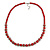 Red Glass Bead with Silver Tone Metal Wire Element Necklace - 70cm L/ 5cm Ext - view 3