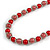 Red Glass Bead with Silver Tone Metal Wire Element Necklace - 70cm L/ 5cm Ext - view 4