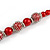 Red Glass Bead with Silver Tone Metal Wire Element Necklace - 70cm L/ 5cm Ext - view 5